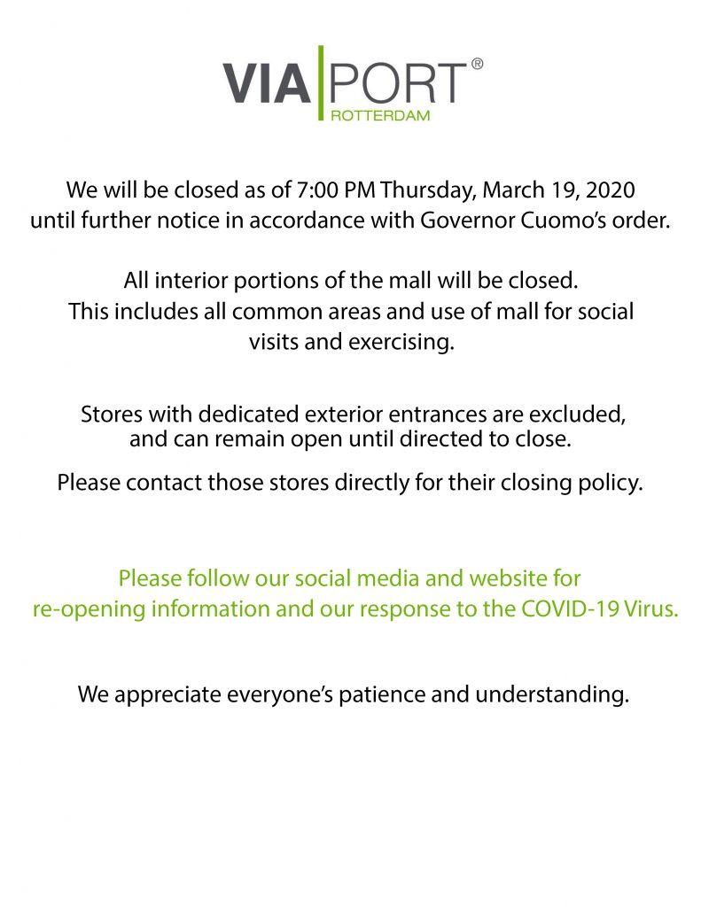 Mall Hours Updated for Coronavirus